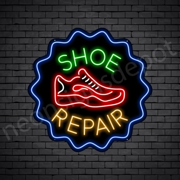 Shoe Repair Cap Neon Sign - Black