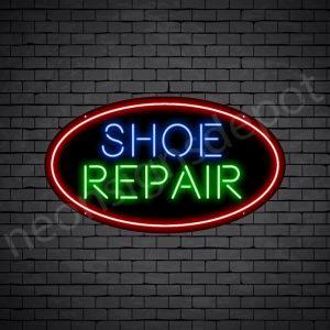 Shoe Repair Circle Neon Sign - Black