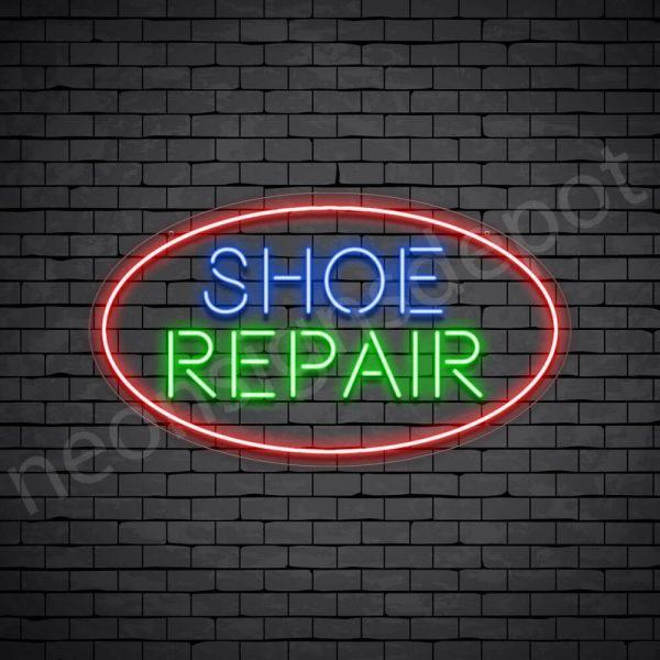 Shoe Repair Circle Neon Sign - Transparent