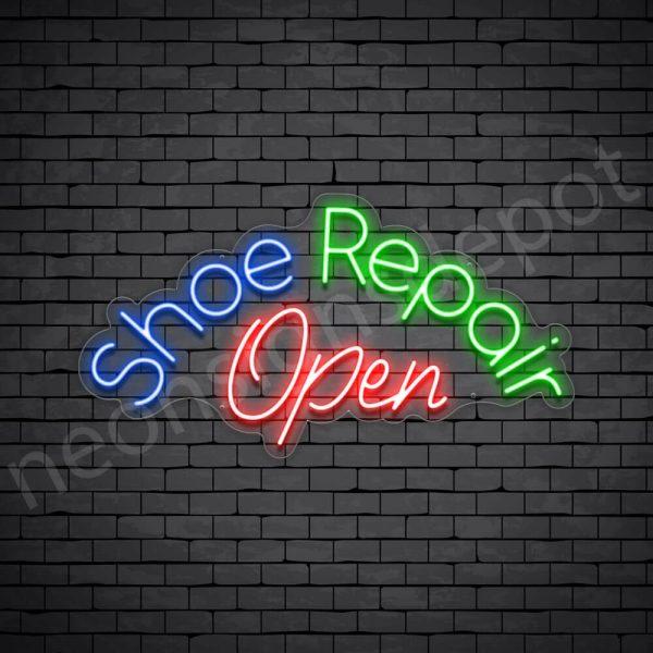 Shoe Shoe Repair Open Neon Sign - Transparent