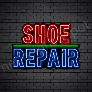 Shoe Repair Outlined Neon Sign - Black