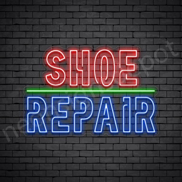 Shoe Repair Outlined Neon Sign - Transparent