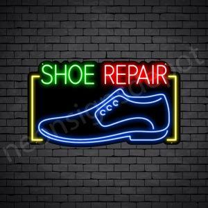 Shoe Repair Rectangle Neon Sign - Black