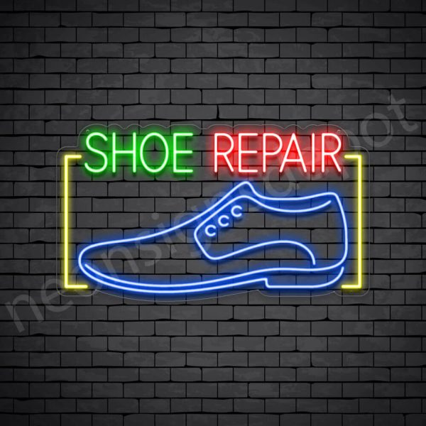 Shoe Repair Rectangle Neon Sign - Transparent