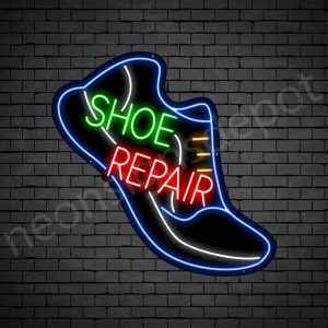 Shoe Repair Slant Neon Sign - Black