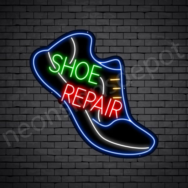 Shoe Repair Slant Neon Sign - Black