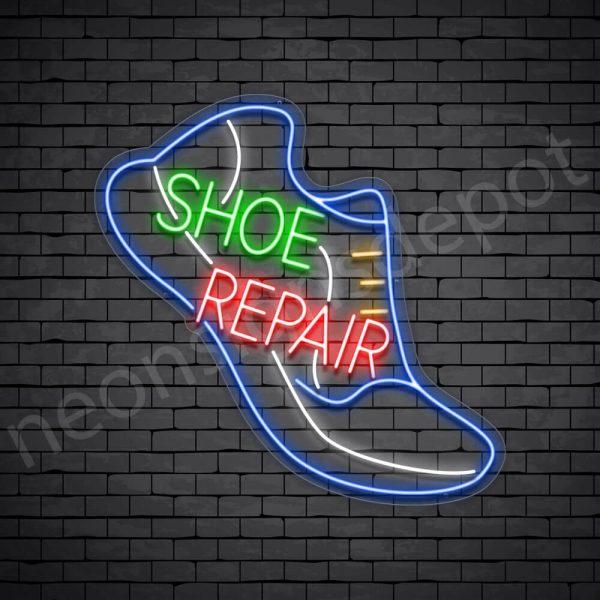 Shoe Repair Slant Neon Sign - Transparent