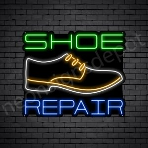 Shoe White Repair Neon Sign - Black