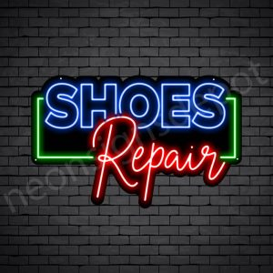 Shoes OL Repair Neon Sign - Black