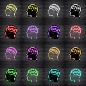 Open Mind Brain Neon Sign