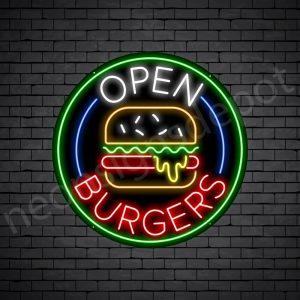 Open Burgers Neon Sign